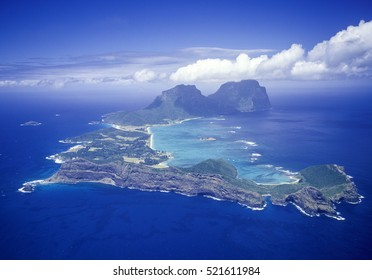 Lord Howe Island aerial the most southerly coral reef in the world.