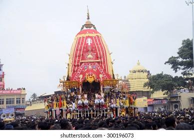 Lord Jagannath at Nandigosha Ratha or chariot while 30 lakhs people gather at Puri in this Nabakalebara Ratha Yatra on July 18, 2015 in Puri, India.