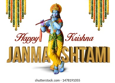 Lord Krishna Indian God Janmashtami festival holiday, Happy Krishna Janmashtami festival of India, Lord Shri Krishna's birth day