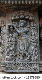 Lord Krishna - Lakshmi Narasimha Temple, Nuggehalli, Hassan District of Karnataka state, India. The temple was built in 1246 CE rule of Hoysala Empire.