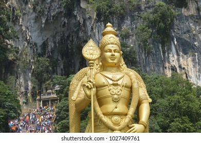 Lord Murugan Golden Statue In Batu Caves. Indian, shrine.