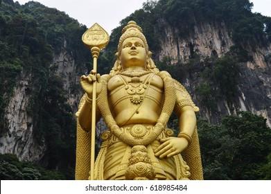 LORD MURUGAN STATUE IN BATU CAVES - Batu Caves is the biggest indian worship shrine outside of India. The statue is of Lord Murugan