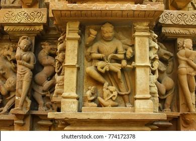 Lord Narasimha - Close up of Laxman temple in western group of temple Khajuraho, India.