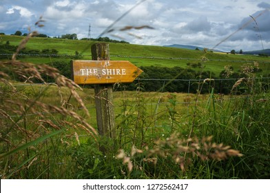 The Lord of the Rings Shire sign on a meadow in Scotland