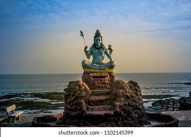 Lord Shiva idol near beach