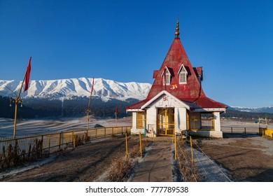 Lord Shiva temple near Himalayan Mountains in Gulmarg, Jammu and Kashmir, India