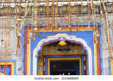 Lord Vishnu Badrinath Temple is made of wooden and designed with wooden carving and colorful paint art, Chamoli, Uttrakhand, India, Asia