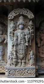Lord Vishnu - Lakshmi Narasimha Temple, Nuggehalli, Hassan District of Karnataka state, India. The temple was built in 1246 CE rule of Hoysala Empire.