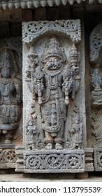 Lord Vishnu's Narsimha avatar - Lakshmi Narasimha Temple, Nuggehalli, Hassan District of Karnataka state, India. The temple was built in 1246 CE rule of Hoysala Empire.