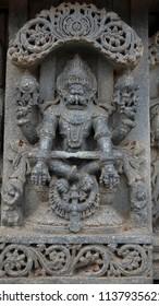Lord Vishnu's Narsimha Avatara - Lakshmi Narasimha Temple, Nuggehalli, Hassan District of Karnataka state, India. The temple was built in 1246 CE rule of Hoysala Empire.