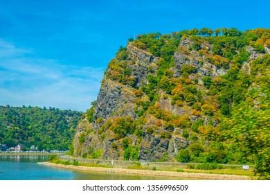 Lorelei cliff on river Rhein in Germany.