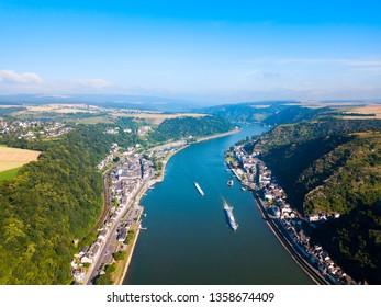 Lorelei mountain viewpoint near the St. Goarshausen town in Rhineland-Palatinate region, German