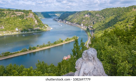 Loreley figure and  Rhine valley Landscape and Sankt Goarshausen view from the Lore Ley rock
