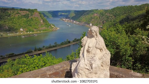 Loreley figure and  Rhine valley Landscape and Sankt Goarshausen view from the Lore Ley rock Travel Germany