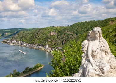 Loreley figure and  Rhine valley Landscape and Sankt Goarshausen view from the Lore Ley rock Germany Intersting Places