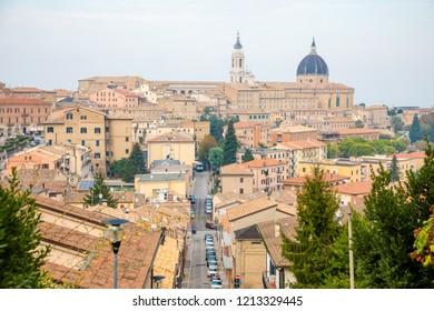 Loreto, Ancona, Italy - 11.10.2018: loreto city of madonna basilica with the house of nazareth marche in Italy