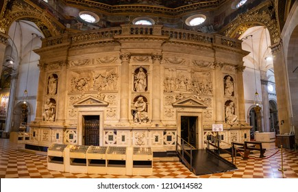 Loreto, Ancona, Italy - 11.10.2018: Interior of the Shrine of Loreto, Santuario della Madonna, detail of the Holy House of Our Lady, Italy