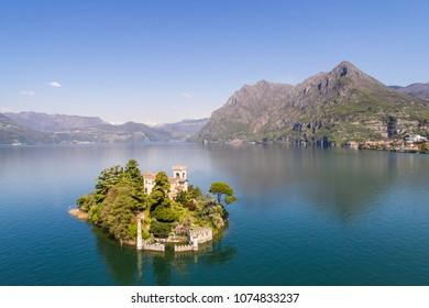 Loreto island, lake of Iseo in Italy. Aerial photo.