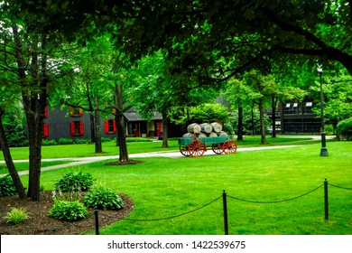 Loretto, Kentucky / USA - June 8, 2019 Maker's Mark Bourbon Distillery listed on the National Historic Landmark. Part of the Kentucky Bourbon Trail. Known for squarish bottle sealed with red wax.