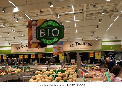 Lorient, France - May 26, 2018: Bio department in Géant Casino hypermarket at Lorient, France. Géant Casino is a hypermarket chain based in Saint Etienne, France.