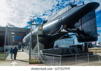 Lorient, France -September 19, 2017: View of a Submarine exhibited on shore at the previous World War 2 German submarine base of Lorient, Brittany France