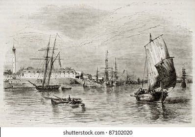 Lorient port old view, France. Created by Beuguelet, published on Magasin Pittoresque, Paris, 1843
