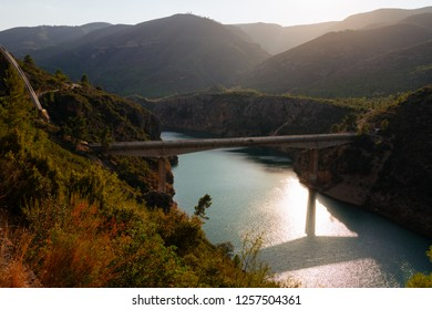 Loriguilla Aqueduct crossing Turia River near Chulilla, Valencian Community, Spain