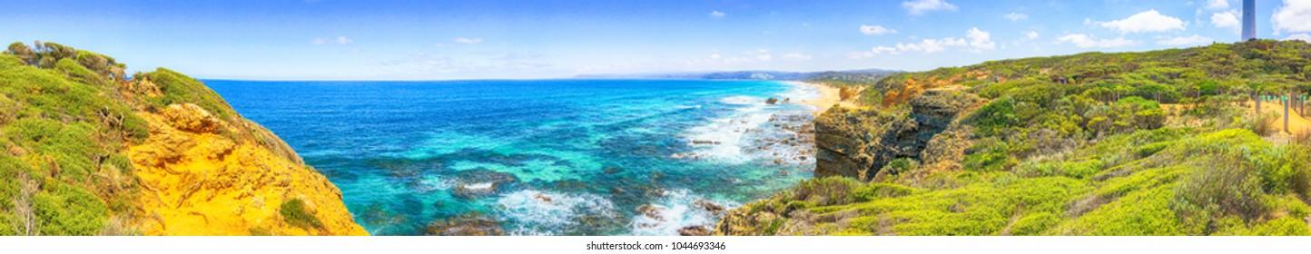 Lorne Queenscliff coastal reserve, panoramic aerial view, Victoria - Australia.