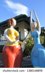 LORNE, VIC - APR 16 2019:Street sculptures in Lorne a popular tourist seaside town resort in Victoria, Australia.