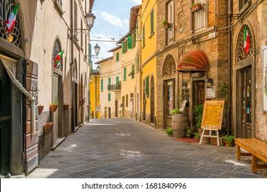 Loro Ciuffenna, village in the Province of Arezzo in the Italian region Tuscany. Central Italy. June-28-2018