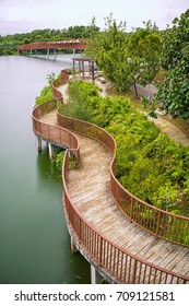 Lorong Halus Bridge at Punggol Waterway Park, Singapore.