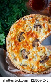 Lorraine open pie with chicken and mushrooms, top view