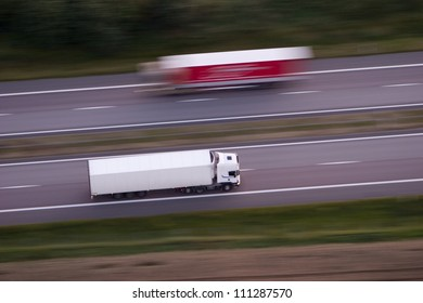 Lorries on a country road