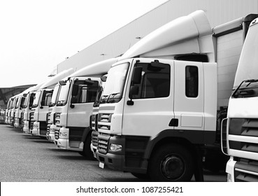lorries parked up outside a company's car parking area no people stock photo