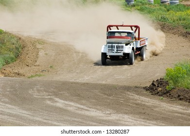 Lorry in competition in rally off-road
