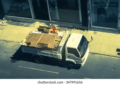 lorry with garbage and construction scrap