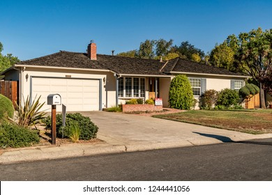 Los Altos, CA / USA - OCTOBER 15, 2018: The Apple garage, garage at the childhood home of Steve Jobs was a hangout for the founders of Apple.