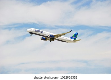 LOS ANGELELES/CALIFORNIA - APRIL 21, 2018: JetBlue Airways Airbus A321 aircraft is airborne as it departs Los Angeles International Airport. Los Angeles, California USA