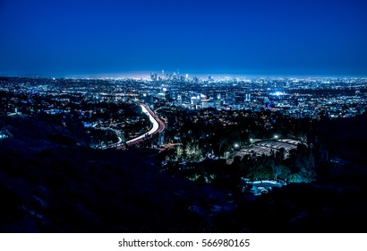 Los angeles aerial view. Night shot with cold blue filter.