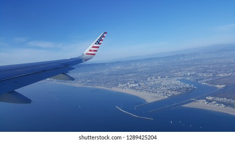 los angeles aerial view usa plane wing