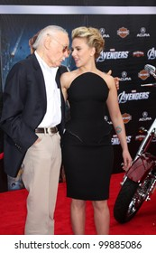 "LOS ANGELES - APR 11:  Stan Lee, Scarlett Johansson arrives at ""The Avengers"" Premiere at El Capitan Theater on April 11, 2012 in Los Angeles, CA"