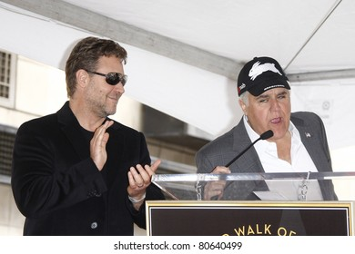 LOS ANGELES - APR 12: Russell Crowe and Jay Leno at a ceremony where Russell Crowe is honored with the 2404th star on the Hollywood Walk  of Fame, Los Angeles, California on April 12, 2010
