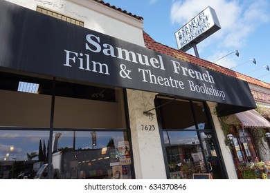 LOS ANGELES, APR 13, 2017: The famous Samuel French Film and Theatre Bookshop on Sunset Boulevard,which has been in business for 65 years and has one of the largest selection of film and theater books