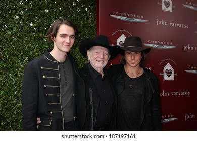 LOS ANGELES - APR 13:  WIllie Nelson, with sons Micah and Lukas Nelson at the John Varvatos 11th Annual Stuart House Benefit at  John Varvatos Boutique on April 13, 2014 in West Hollywood, CA