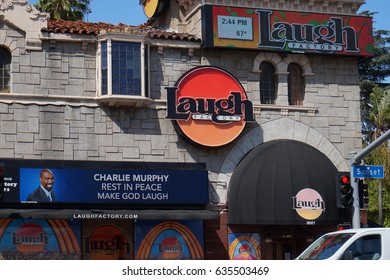 LOS ANGELES, APR 13TH, 2017: The facade of the historic Laugh Factory in Hollywood on the Sunset Strip, a comedy club which opened in 1979 and has hosted many of the most famous comics in the world.