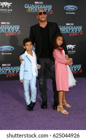 """LOS ANGELES - APR 19:  Vincent Sinclair, Vin Diesel, Hania Riley Sinclair at the """"Guardians of the Galaxy Vol. 2"""" Los Angeles Premiere at the Dolby Theater on April 19, 2017 in Los Angeles, CA"""