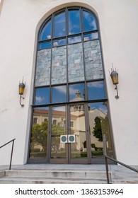 Los Angeles, APR 2: Exterior view of St. Vincent de Paul Roman Catholic Church in reflection on APR 2, 2019 at Los Angeles, California