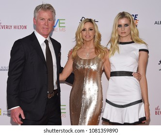LOS ANGELES - APR 20:  David C. Meyer, Camille Grammer and Mason Olivia Grammer arrives to the Race to Erase MS 25th Anniversary Gala  on April 20, 2018 in Hollywood, CA