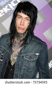 LOS ANGELES - APR 20:  Trace Cyrus arriving at the Launch Of The New T-Mobile Sidekick 4G  at Old Robinson/May Building on April 20, 2011 in Beverly Hills, CA..