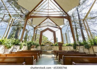 Los Angeles, APR 21: The beautiful Glass Church - Wayfarers Chapel on APR 21, 2017 at Rancho Palos Verdes, Los Angeles, California